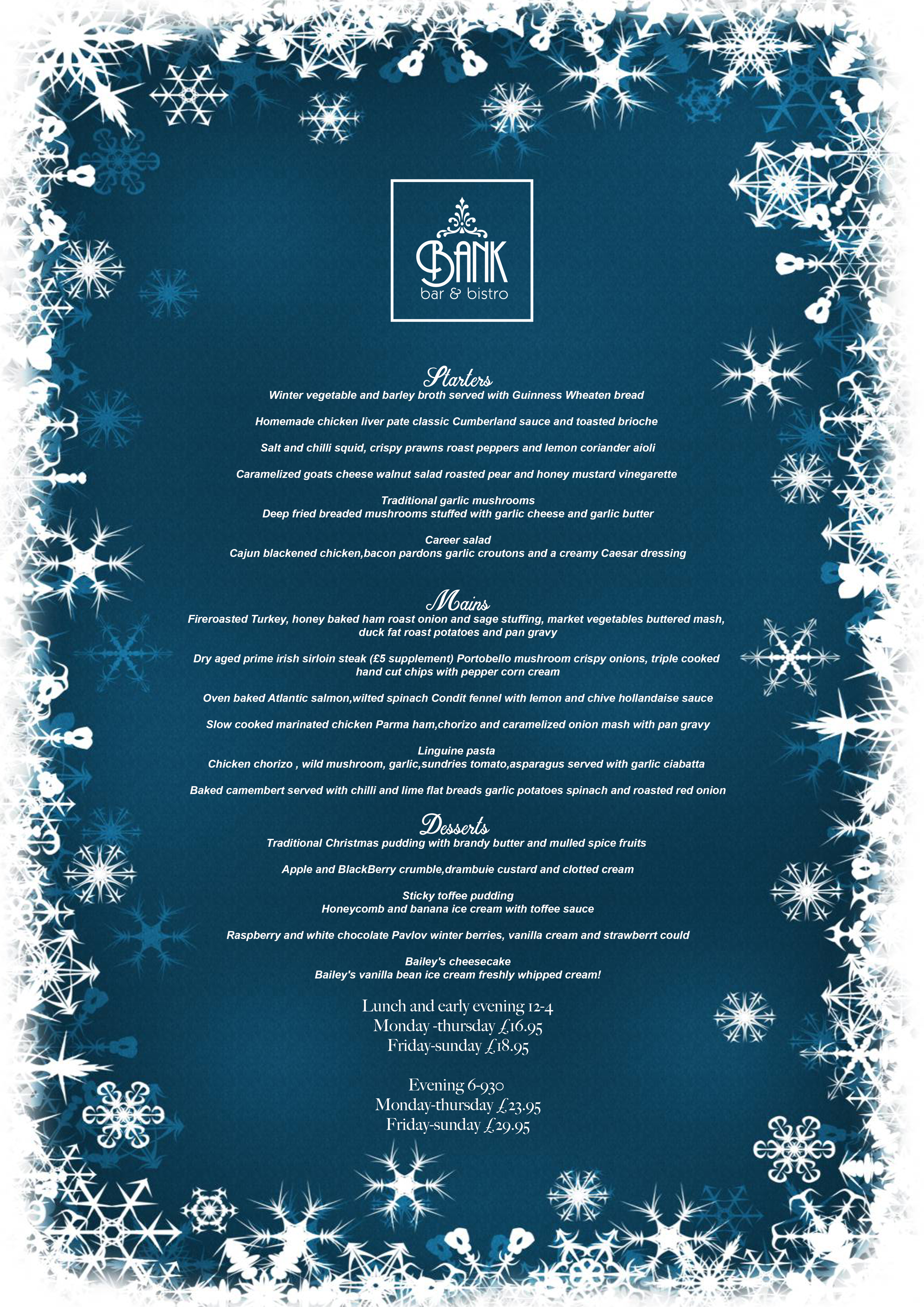 Eating out in newry at christmas newry business improvement district check out the banks christmas menu malvernweather Images