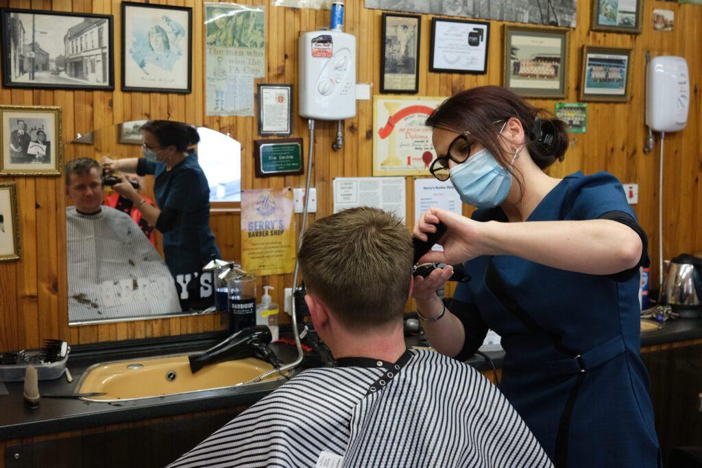 Eva Devine, Gerry's Barber Shop, Newry. Photograph: Columba O'Hare/ Newry.ie